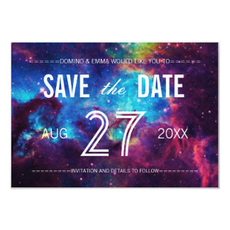 Save the Date Galaxy Wedding Cards 9 Cm X 13 Cm Invitation Card