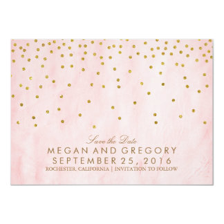 Save the Date Gold and Pink Glitter 11 Cm X 16 Cm Invitation Card