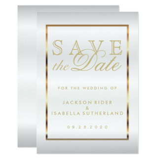Save the Date Gold and White Satin Card