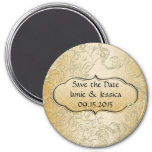 Save the Date Gold Black Swirly Love Birds Magnet