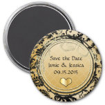 Save the Date Gold & Black Vintage Damask Magnet