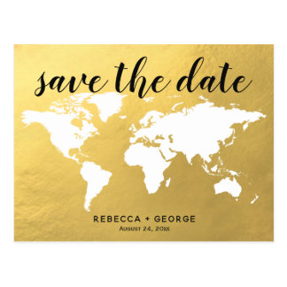 save the date gold chic destination wedding postcard