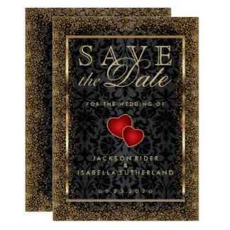 Save the Date Gold Confetti and Black Card