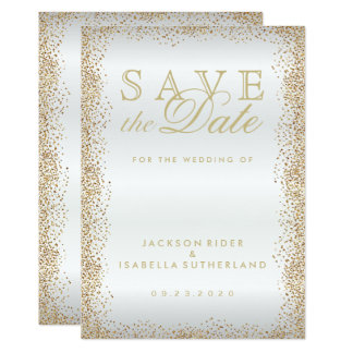 Save the Date Gold Confetti and White Card
