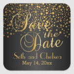 Save the Date Gold Dots and Black | Personalise Square Sticker
