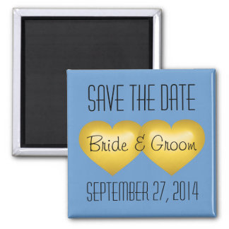 Save the date gold fade hearts square magnet
