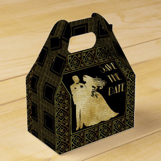Save the Date Gold Foil & Black Wedding Favour Box