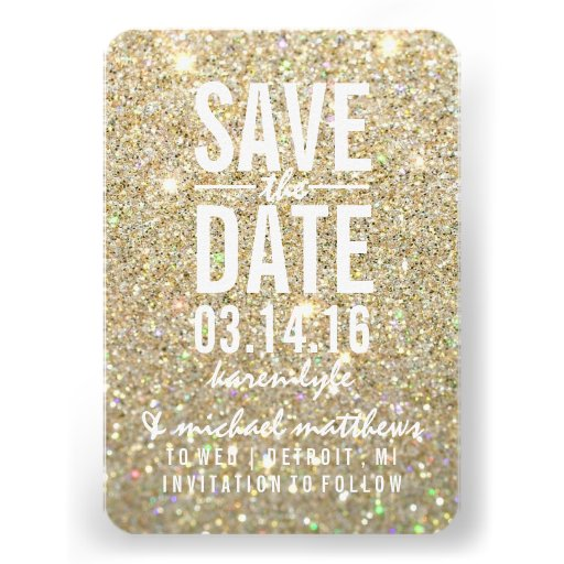 Save the Date | Gold Glitter Fab Invites