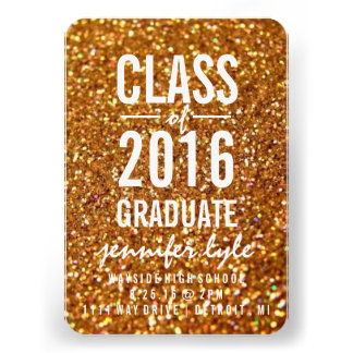 Save the Date Gold Glitter Grd Personalized Announcement