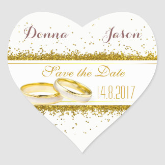 Save the Date Gold Glitter Rings - Heart Sticker