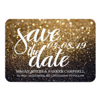 Save the Date | Gold Lit Nite Glitter Fab II Card