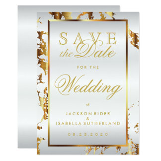 Save the Date Gold Marble and White Satin Card