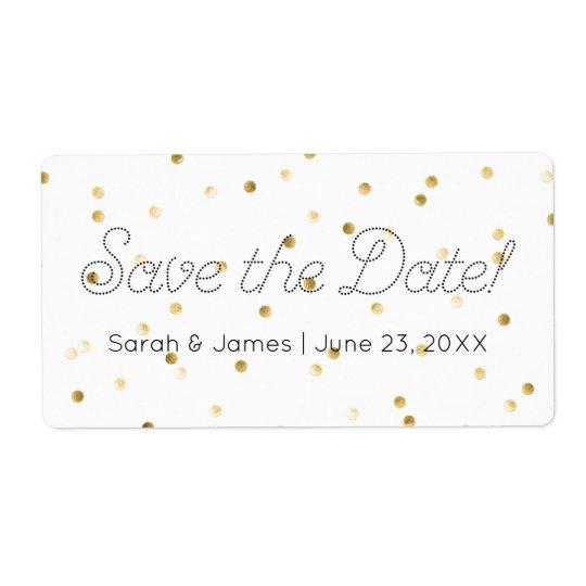 Save the Date Gold Metallic Polka Dots Elegant