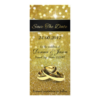 Save the Date Gold Wedding Rings - Rack Card