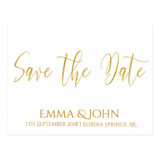 Save the Date Gold White- Plain Postcard