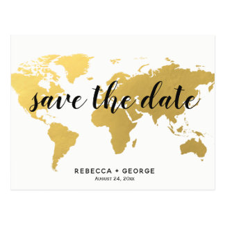 save the date gold world map destination wedding postcard