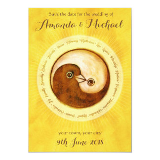 SAVE THE DATE Gold YinYang doves wedding card
