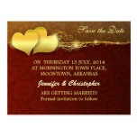 save the date golden chic hearts postcards