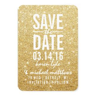 Save the Date | Golden Glitter Fab II 9 Cm X 13 Cm Invitation Card