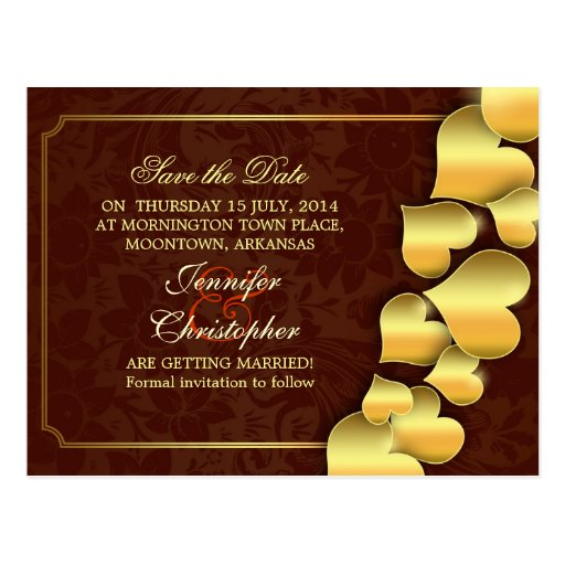 save the date golden hearts beautiful postcards