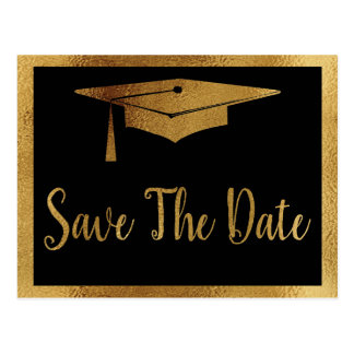 Save The Date Graduation - Black & Faux Gold Style Postcard
