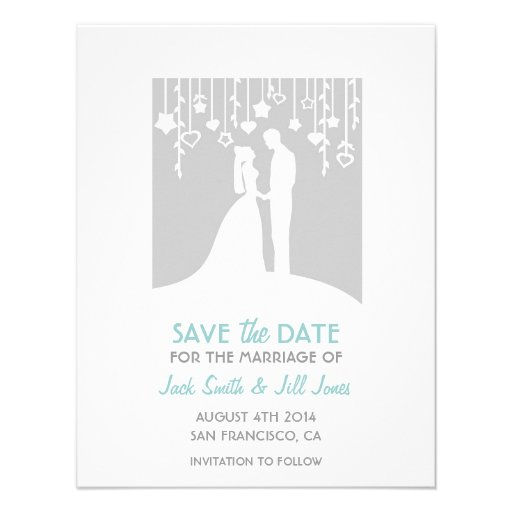 Save the date - gray bride and groom silhouettes invites
