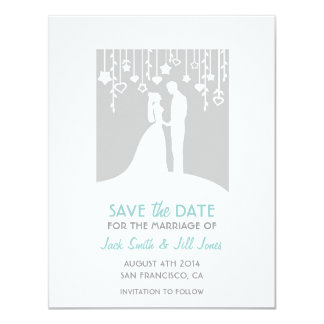"""Save the date - gray bride and groom silhouettes 4.25"""" x 5.5"""" invitation card"""