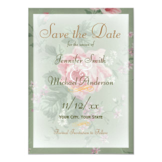 Save the Date Green and Vintage Pink Rose Wedding 4.5x6.25 Paper Invitation Card