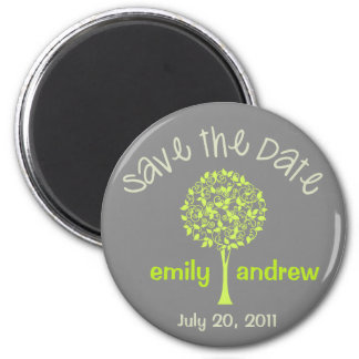 Save the Date Green Gray Tree Magnet