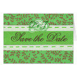 Save the Date Green Greeting Card