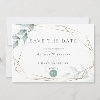 Save the Date  |  Greyed Jade Green Botanical