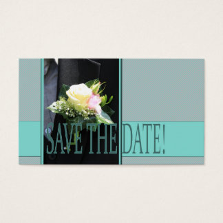 Save the Date Groom's boutonniere Business Card