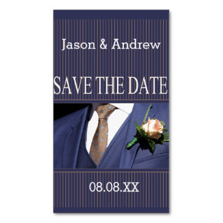 Save the Date Groom's boutonniere Magnetic Business Card
