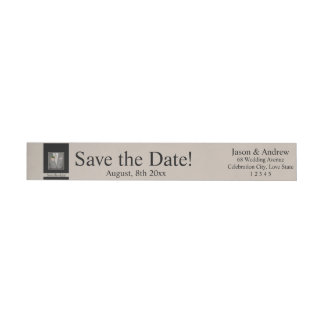 Save the Date Groom's boutonniere Wrap Around Label