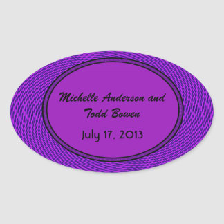 Save the Date Groovy Purple Abstract Oval Sticker