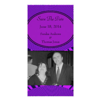 Save the Date Groovy Purple Abstract Photo Card Template