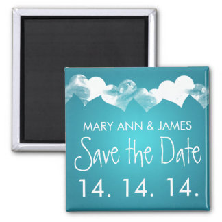 Save The Date Grunge Hearts Turquoise Square Magnet