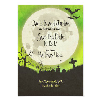 Save the Date Halloween wedding - moon, cemetery Card