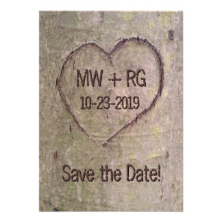 Save the Date Heart Carved in Tree Announcement