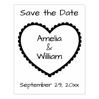 Save the Date Heart Personalized Rubber Stamp