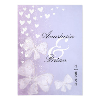 save the date hearts and butterflies custom invitation