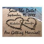 Save The Date Hearts Sand Beach Wedding Postcard