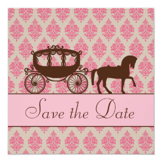 "Save the Date Horse and Carriage Invitation 5.25"" Square Invitation Card"