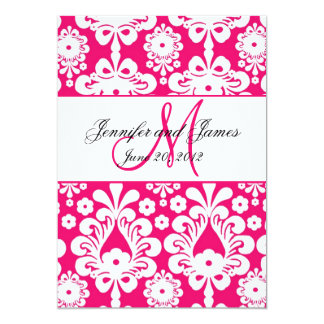Save The Date Hot Pink Damask Wedding Card