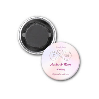 Save the Date I love you infinitely 3 Cm Round Magnet