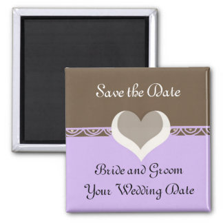 Save the Date in Chocolate and Purple Magnets