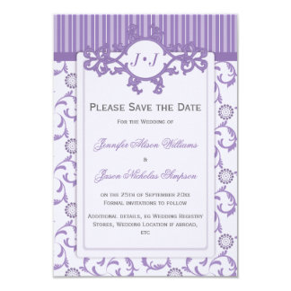 Save the Date in Lavender with Ornate Pattern Card