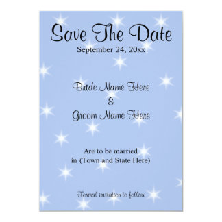 Save The Date in Light Blue with White Stars. 13 Cm X 18 Cm Invitation Card