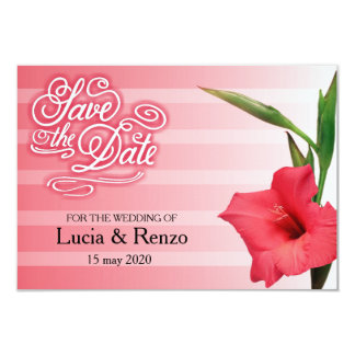 Save the date, in shades of red with flower 9 cm x 13 cm invitation card