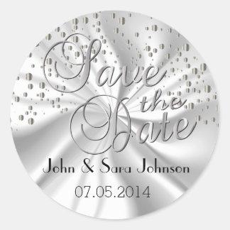 Save the Date in Silver Confetti & White Round Sticker